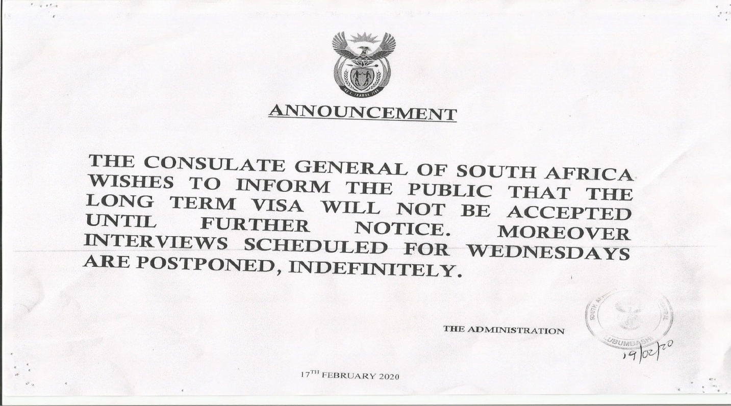 South Africa Visa Information Democratic Republic Of Congo News And Notices